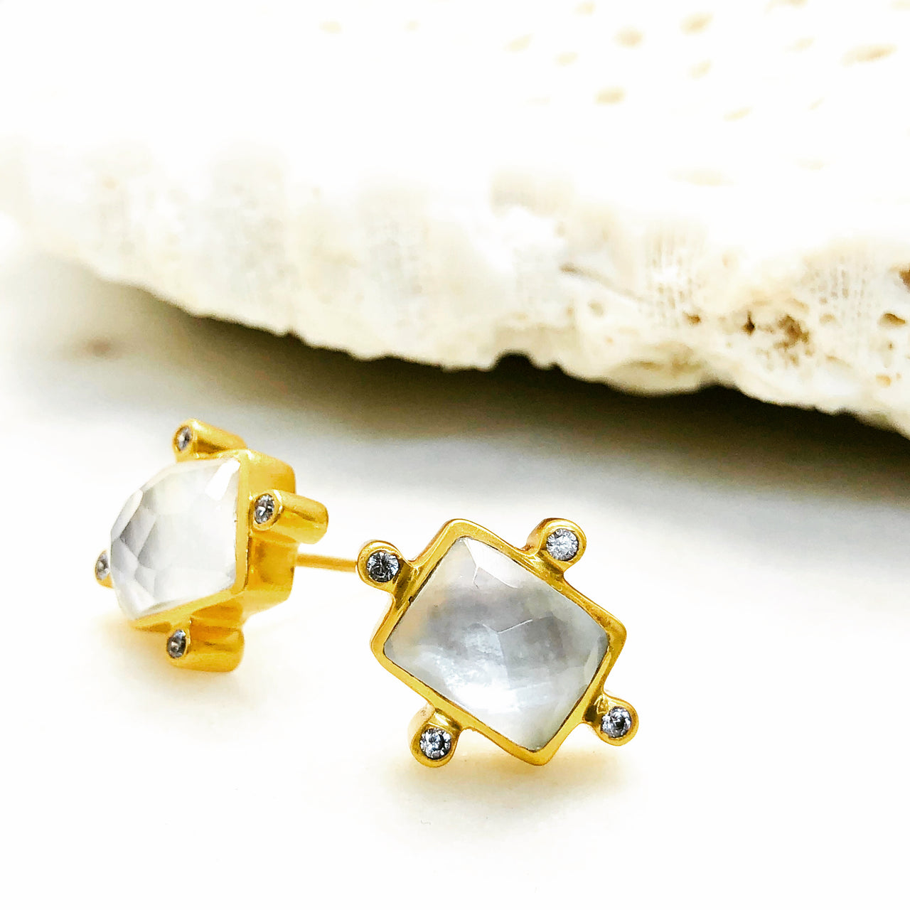 Gold Plated Mother of Pearl and Quartz Earrings.
