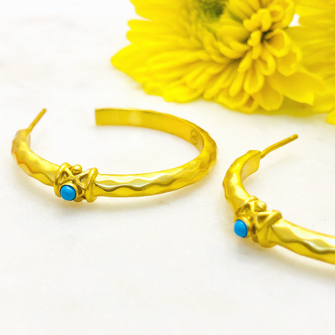 Gold Plated Turquoise Earrings.