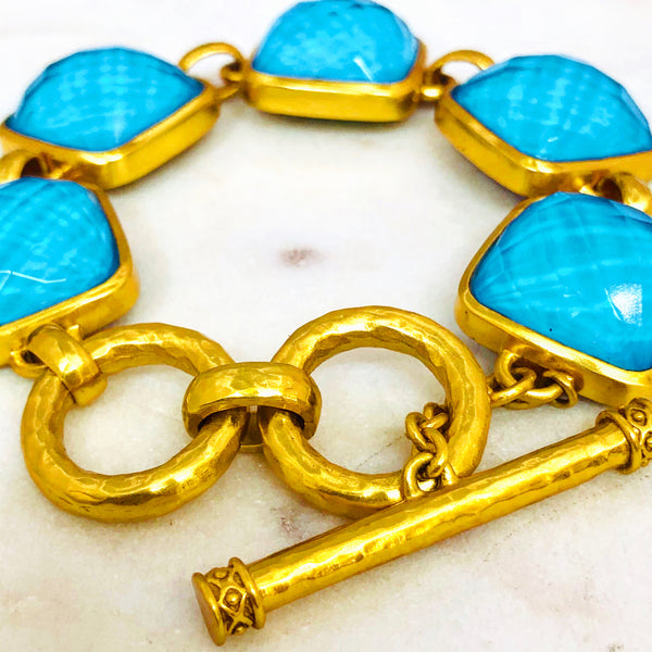Gold Plated Turquoise and Quartz Bracelet.