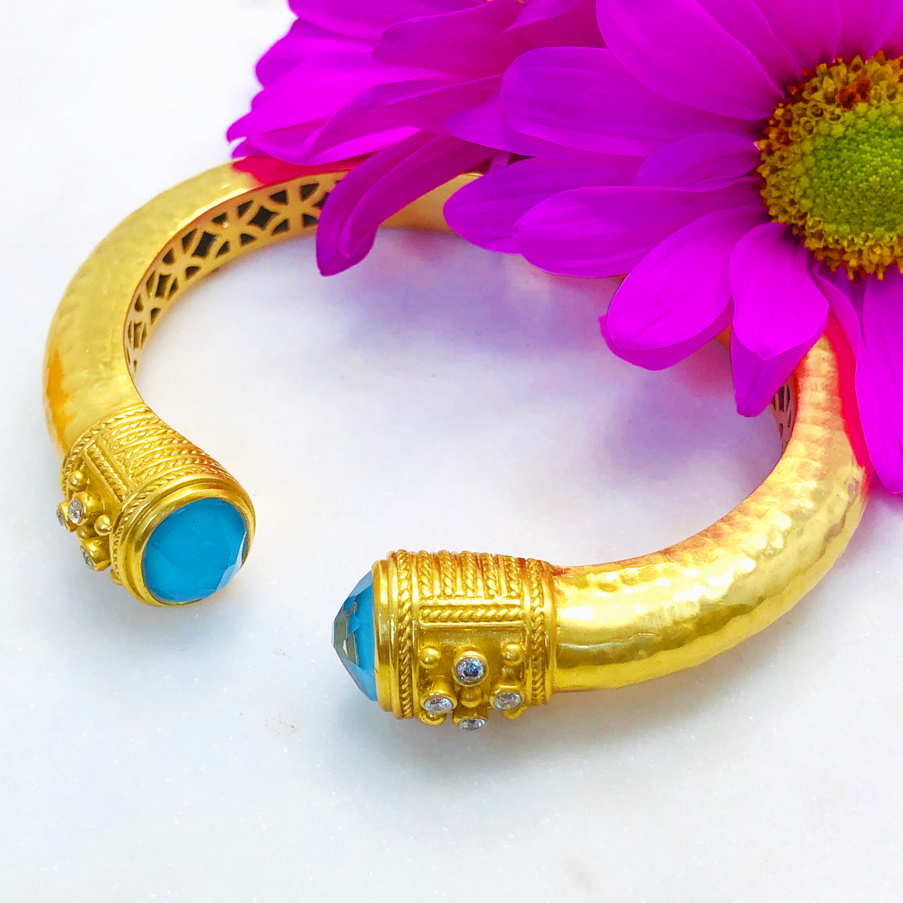 Gold Plated Turquoise, Quartz and Cubic Zirconia Bracelet.