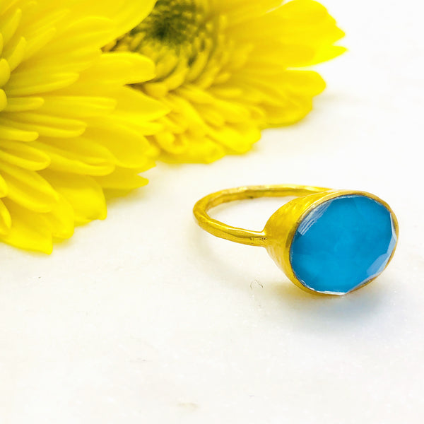 Gold Plated Turquoise and Quartz Ring.