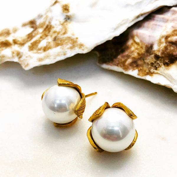 Gold Plated Faux Pearl Earrings.