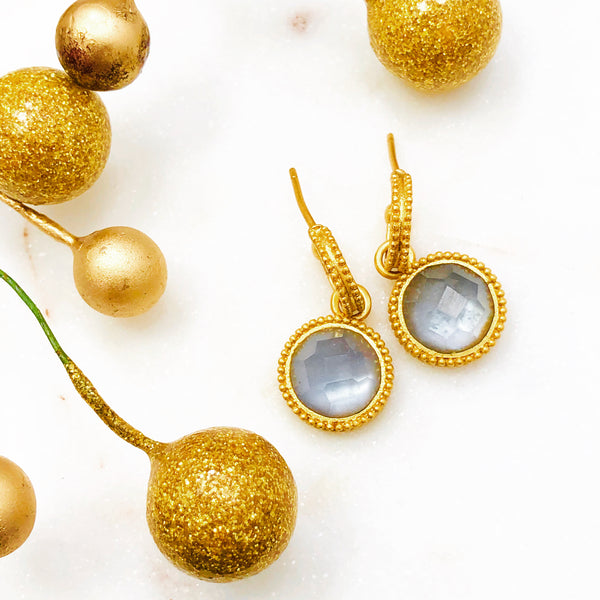 Yellow Gold Plated Quartz Earrings.
