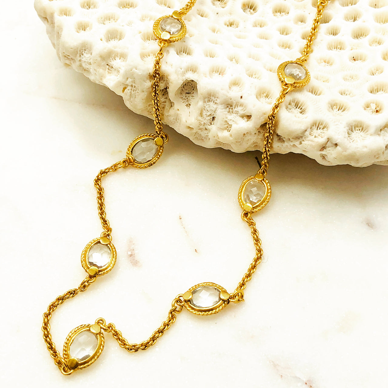 Yellow Gold Plated Quartz Necklace.