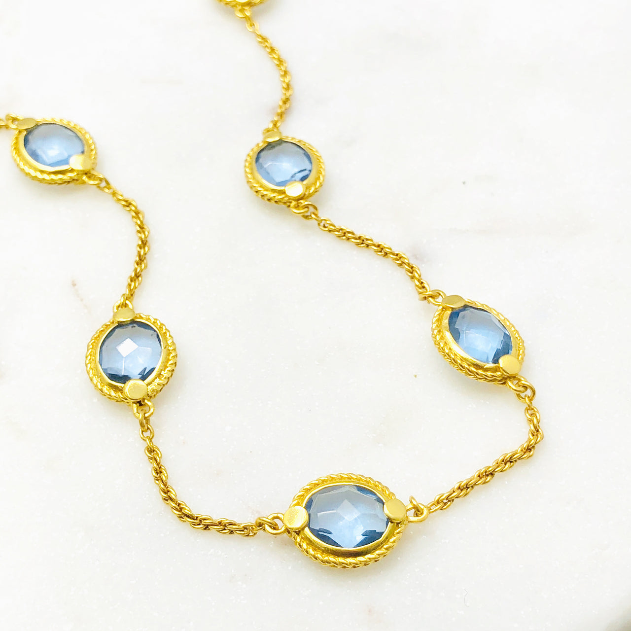 Yellow Gold Plated Chalcedony Necklace.