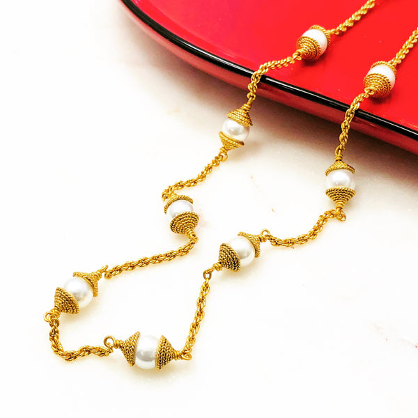 Yellow Gold Plated Faux Pearl Necklace.