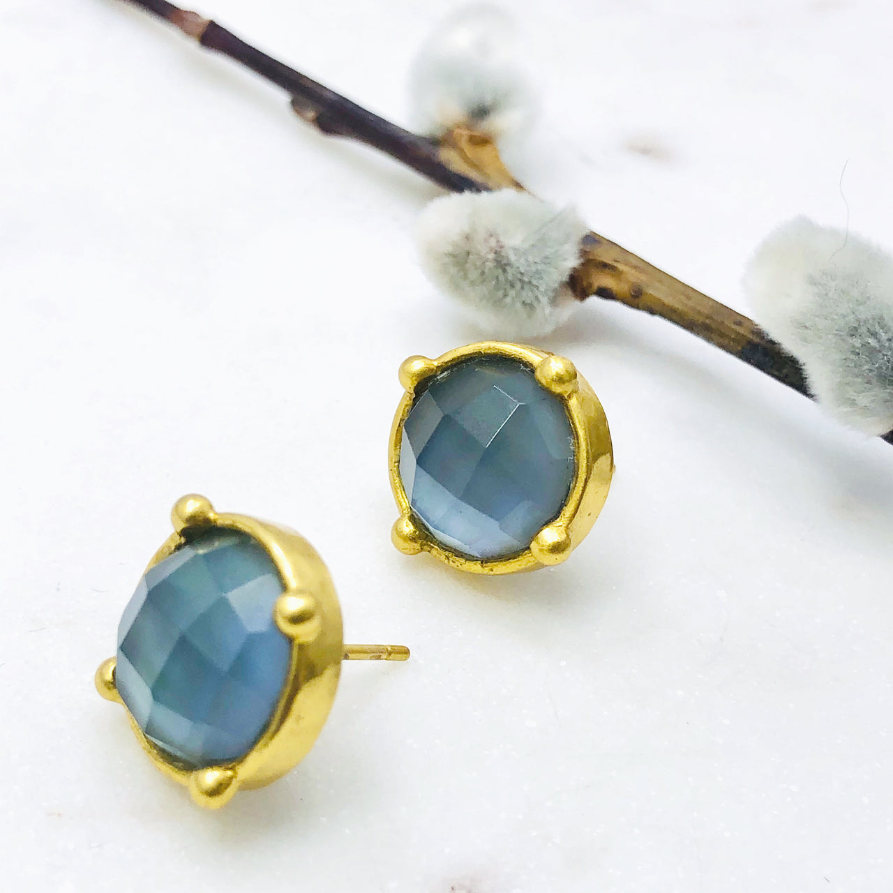 Yellow Gold Plated Blue Quartz Earrings.