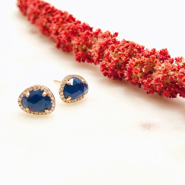 14k Rose Gold Sapphire and Diamond earrings.