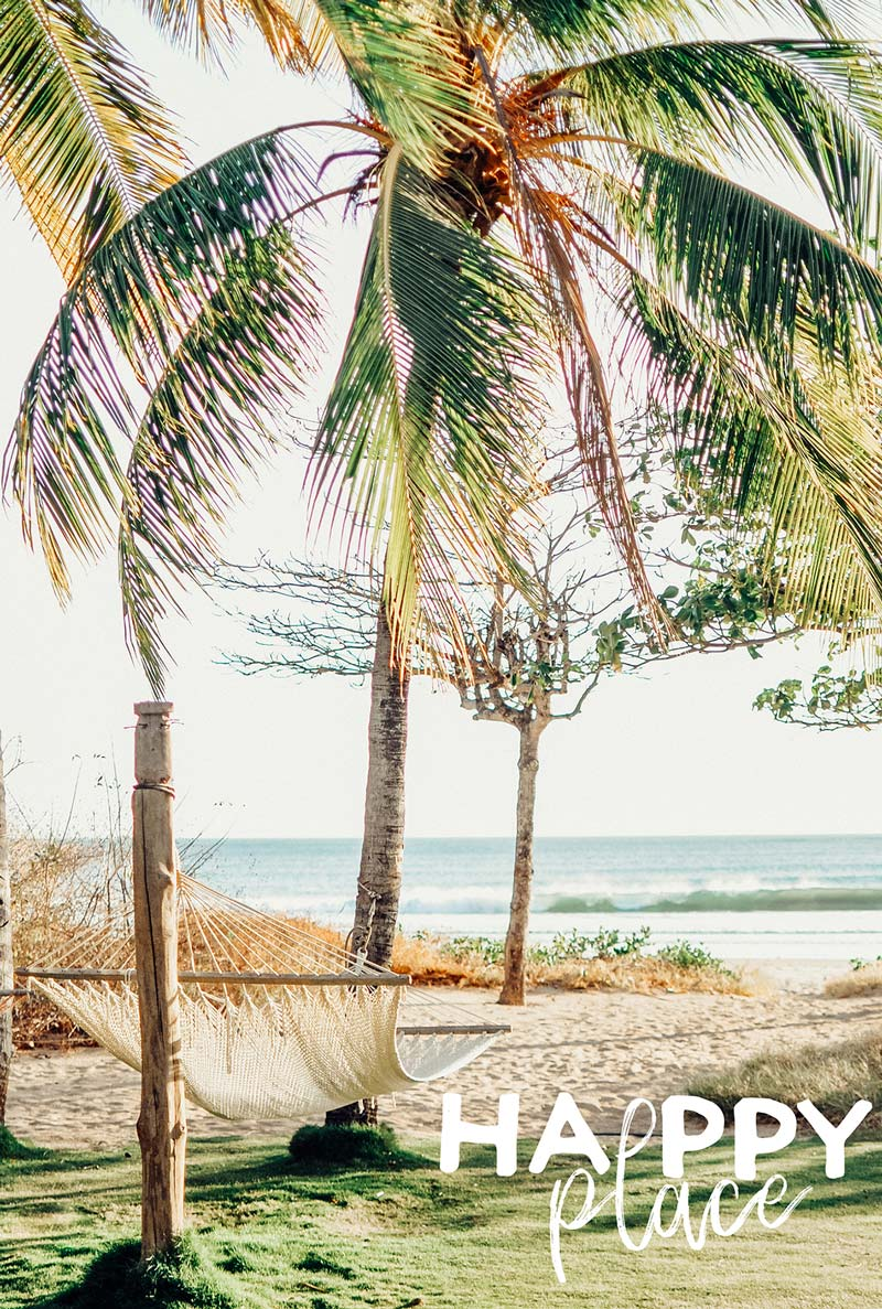 Beach happy place. Palm trees overlooking the ocean in Costa Rica. Photographed by Kristen M. Brown, Samba to the Sea for The Sunset Shop.