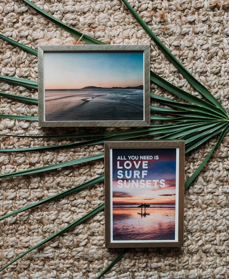Sunset photos framed with Project 62 Target frames. Sunset photos by Samba to the Sea for The Sunset Shop.