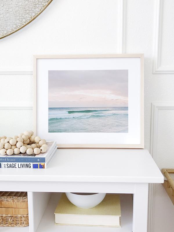 Sunset beach fine art print styled by Jane at Home. Beautiful pastel pink sunset in Watercolor Florida. Photograph by Samba to the Sea for The Sunset Shop, framed by Art to Frames.