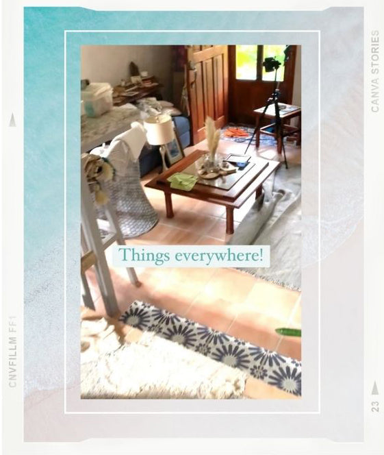 Behind the scenes Instagram Reel of destination Costa Rica photographer Kristen M. Brown at home with her sunset and beach photography prints. Boho surf shack in Tamarindo, Costa Rica. Samba to the Sea for The Sunset Shop.