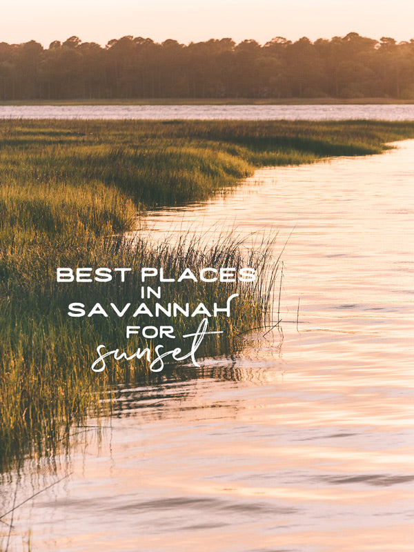 The best places to watch sunset in Savannah Georgia. By Kristen M. Brow of Samba to the Sea for The Sunset. Beautiful rose gold sunset over the marsh in Savannah.