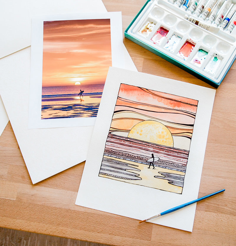Surfer on the beach during sunset in Tamarindo Costa Rica. Surfer sunset watercolor by Tasha Chapman. Sunset surfer photo by Kristen M. Brown Samba to the Sea at The Sunset Shop.