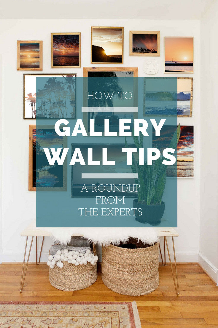 Gallery wall tips. How to create a gallery wall from the experts. Gallery wall over bench in entryway.
