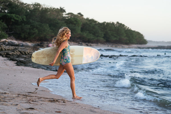 Photography of Costa Rica surfer girl. Kristen M. Brown of Samba to the Sea for The Sunset Shop.
