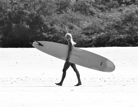 Kristen M. Brown of Samba to the Sea headed for a surf in Costa Rica.