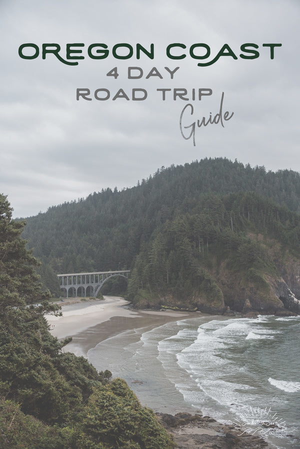 Let's go on a road trip adventure down the Oregon Coast. Four Day Road Trip Guide. Cape Creek bridge at Heceta Head print by Kristen M. Brown Samba to the Sea for The Sunset Shop.
