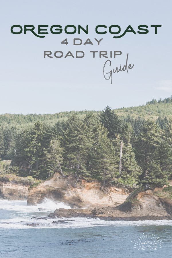 Let's go on a road trip adventure down the Oregon Coast. Four Day Road Trip Guide. Beautiful Oregon Coast on a sunny day. Pocket Full of Sunshine print by Kristen M. Brown Samba to the Sea for The Sunset Shop.