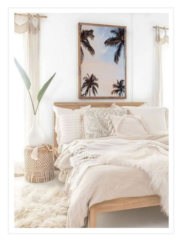 """Dreamy beachy boho bedroom with breathtaking photography print of rainbow in between palm trees with a sunrise sky in Miami Florida. """"Palmbow"""" photo print by Kristen M. Brown of Samba to the Sea, available at The Sunset Shop."""