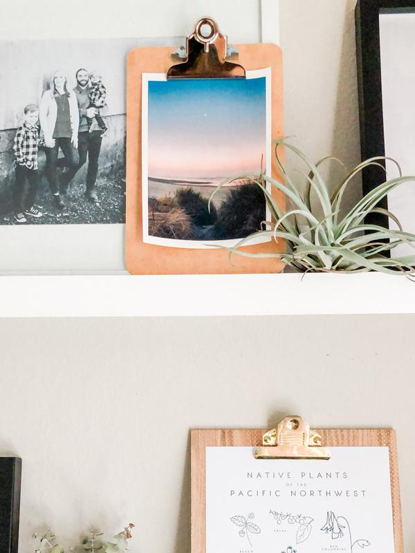 "Full moon setting during a pastel pink sunrise on the Oregon Coast. ""Pink Side of the Moon"" sunrise beach print by Kristen M. Brown, Samba to the Sea. Coastal living Oregon Coast beach print shelfie on an industrial clipboard."