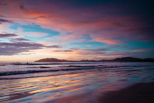 Gorgeous pastel pink sunset in Tamarindo, Costa Rica. Photographed by Kristen M. Brown, Samba to the Sea at The Sunset Shop.