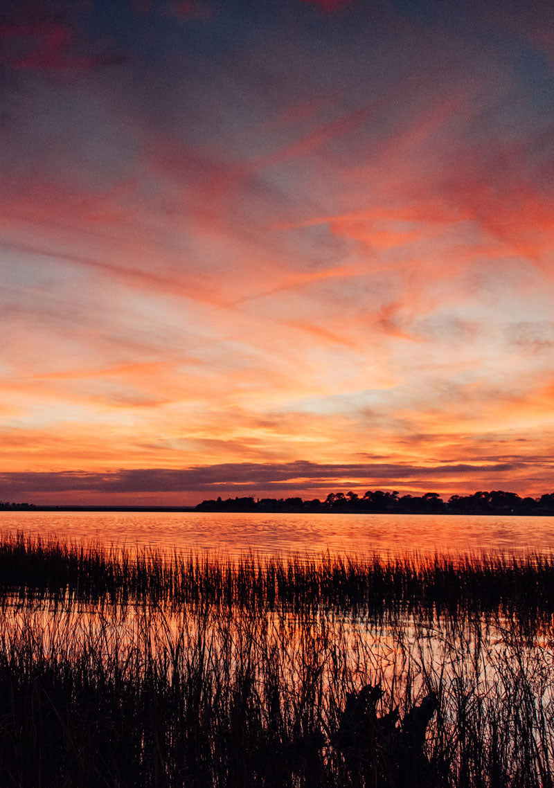 Marsh sunset in Savannah Georgia. Photographed by Kristen M. Brown, Samba to the Sea for The Sunset Shop.