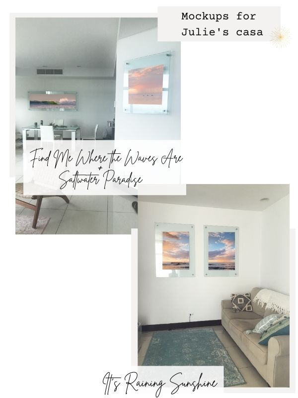 Changing artwork with beach photos to create a beach escape in a home. Sunset and beach photos prints of Costa Rica by Kristen M. Brown of Samba to the Sea for The Sunset Shop.