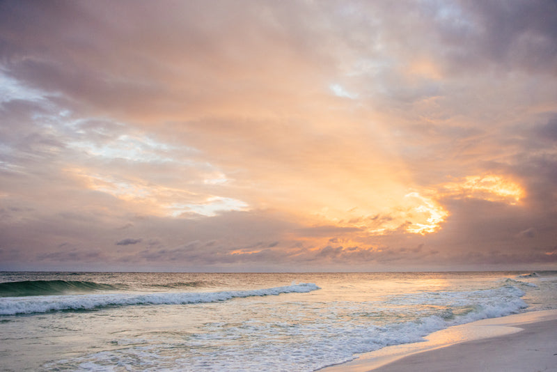 Beautiful beach sunset in Watercolor Florida. Photographed by Kristen M. Brown, Samba to the Sea for The Sunset Shop.