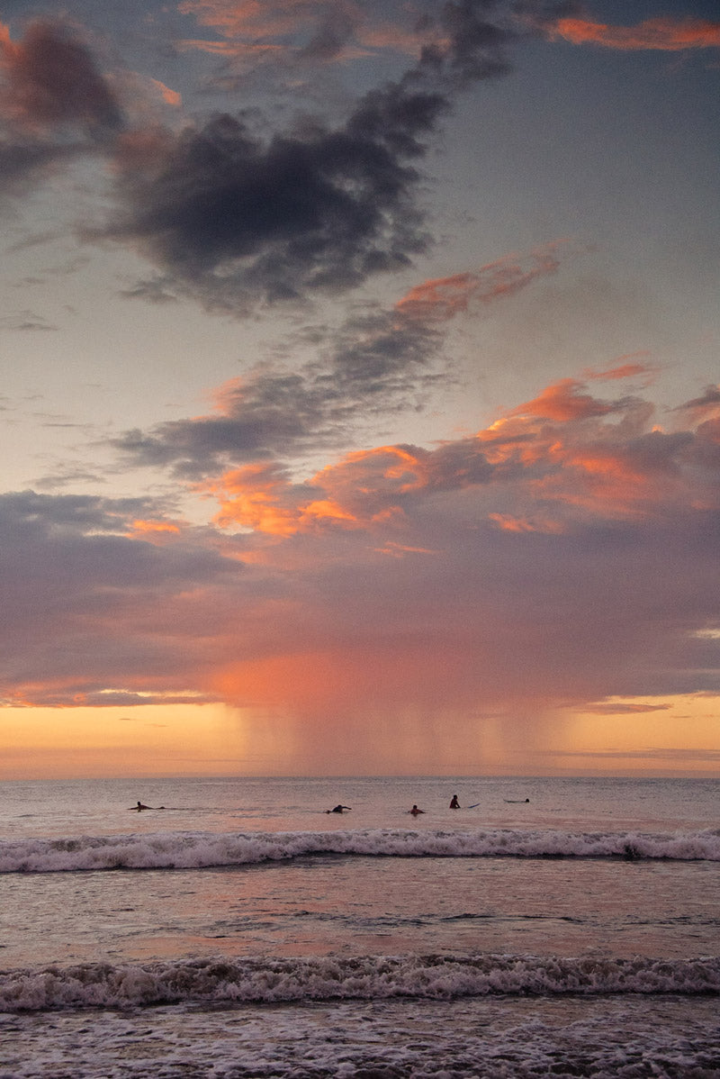 Pastel pink rain sunset in Costa Rica. Sunset art pictures photographed by Kristen M. Brown, Samba to the Sea for The Sunset Shop.