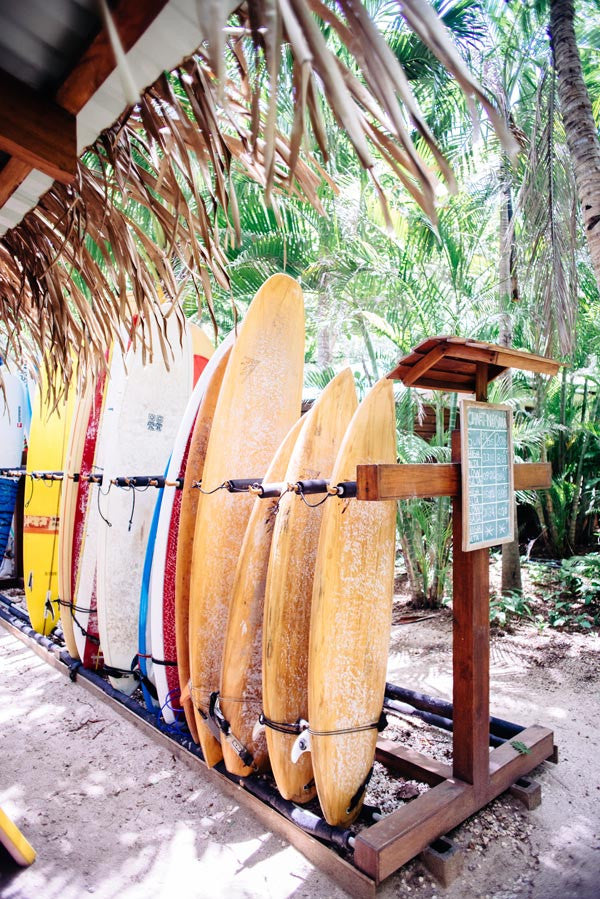 Surfboards at the Harmony Hotel in Nosara, Costa Rica. Photographed by Kristen M. Brown, Samba to the Sea.
