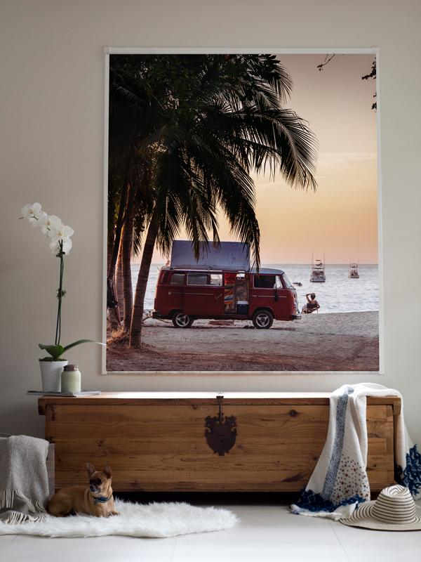The Sunset Bus print by Samba to the Sea at The Sunset Shop. Photograph of a VW Bus on the beach in Tamarindo, Costa Rica during sunset.