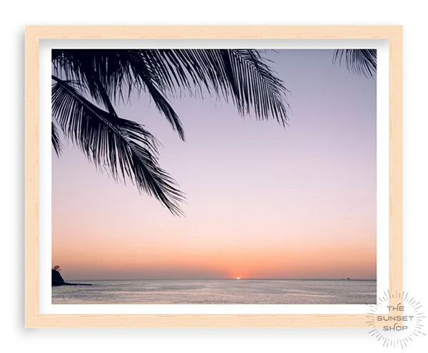 Sunset palm tree photo print. Beautiful palm tree silhouette with an ombre sunset sky over the ocean in Costa Rica. Photographed by Samba to the Sea for The Sunset Shop.