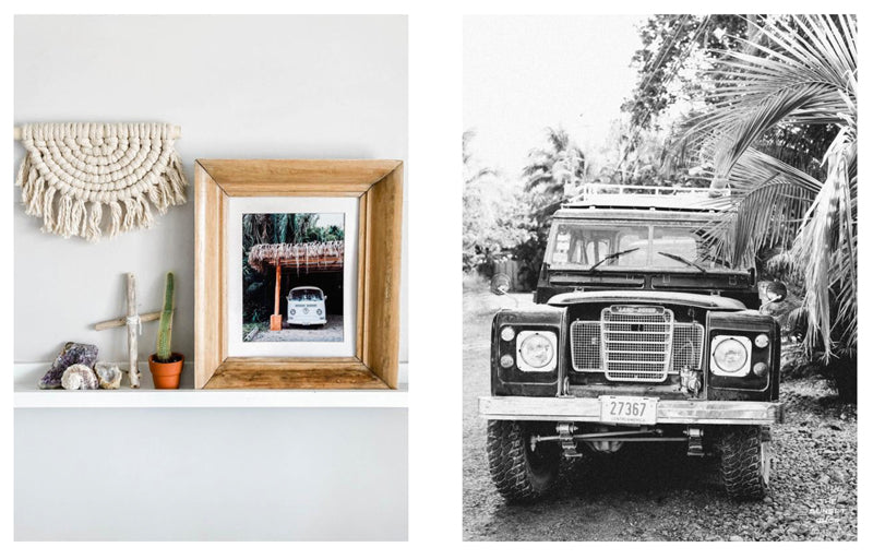 Vintage vehicle photo prints of VW Buses and Landrovers by Kristen M. Brown of Samba to the Sea for The Sunset Shop.
