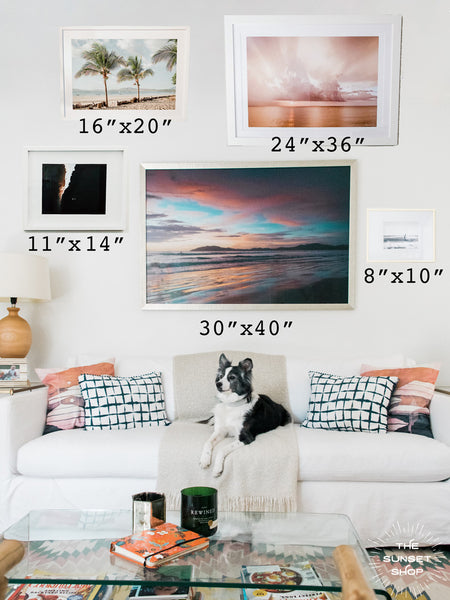 Wall art sizing above a couch. Sunset and beach print photos by Kristen M. Brown of Samba to the Sea for The Sunset Shop.