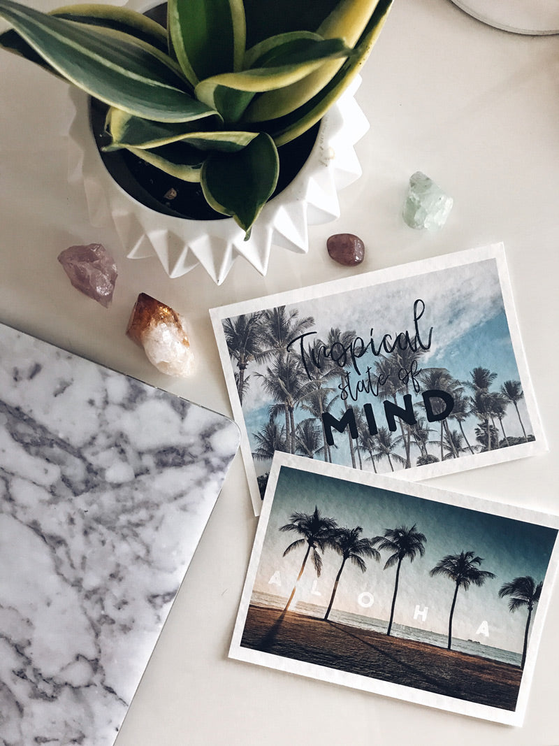 Palm tree prints with crystals and a laptop. Wanderlust Prints at The Sunset Shop by Samba to the Sea.
