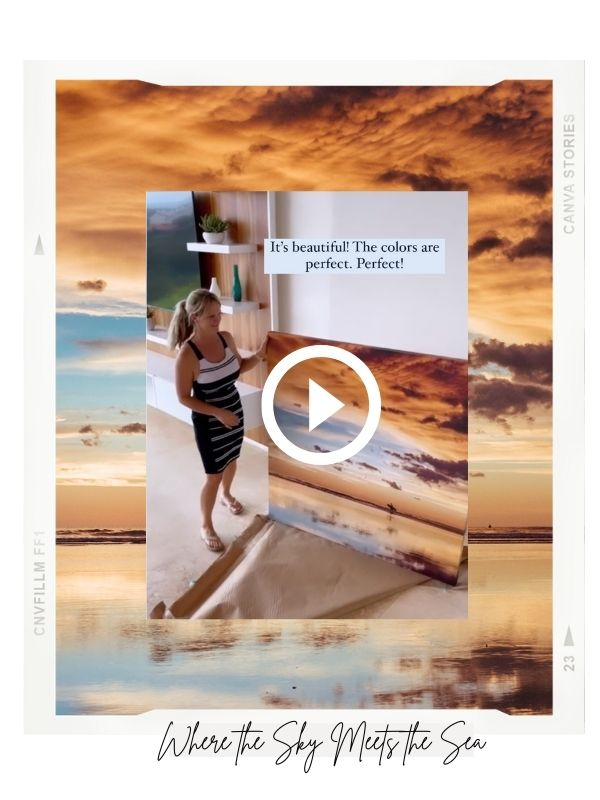 """Unboxing Instagram Reel of """"Where the Sky Meets the Sea"""" sunset canvas print at Angel del Mar in Tamarindo, Costa Rica."""