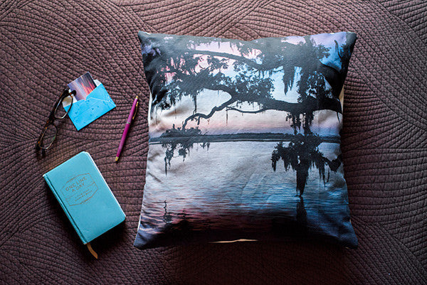 All Dressed Up accent pillow by Samba to the Sea at The Sunset Shop. Image of a pastel pink sunset through a live Oak tree in Savannah, GA.