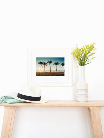 Palm tree fine art print. Palm trees at the beach in Costa Rica. Photographed by Samba to the Sea for The Sunset Shop, framed by Framebridge.