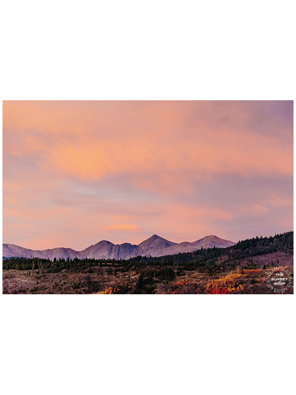 "And into the mountains I go, to lose my mind and to find my soul...because there's just something magical about being in the mountains during sunset as the Alpenglow paints the mountains pink.   Sunset image of Alpenglow on Arapahoe, Gray, and Torrey mountains, Colorado.  ""Arapahoe Glow"" mountain sunset image print by Kristen M. Brown, Samba to the Sea."