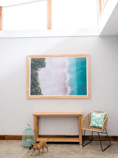 Aerial image of white sand beach and turquoise water of the beach at Playa Conchal, Costa Rica. Aerial beach print by Samba to the Sea at The Sunset Shop. Coastal living large wall art framed aerial beach print.
