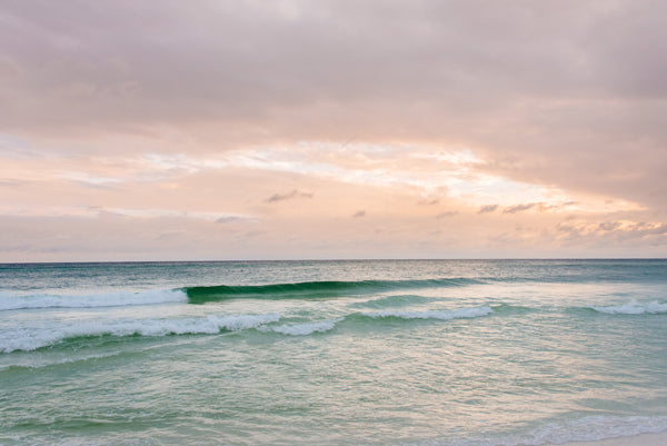 Beautiful pastel pink sunset in Watercolor Florida. Photographed by Samba to the Sea for The Sunset Shop.