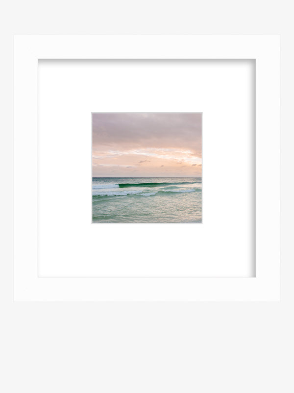Pastel sunset beach print framed shelfie. Beautiful pastel pink sunset in Watercolor Florida. Photographed by Samba to the Sea for The Sunset Shop.