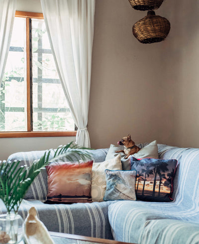 Boho surf shack in Costa Rica. Beach throw pillows at The Sunset Shop for Samba to the Sea.