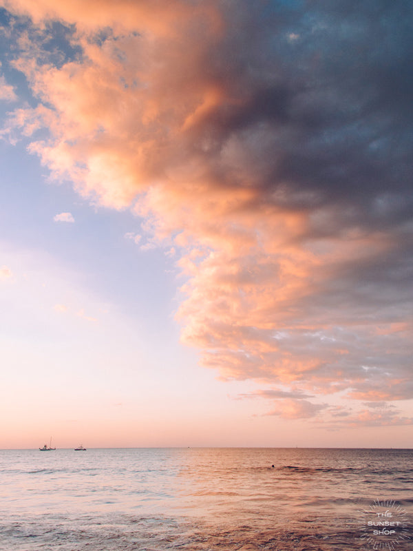 "Serene sunset pastel blue and pink sunset sky over the Pacific Ocean in Costa Rica. ""Candy Land"" photographed by Kristen M. Brown, Samba to the Sea at The Sunset Shop."