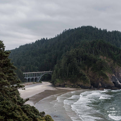 Let's go on a road trip adventure down the Oregon Coast. Cape Creek bridge at Heceta Head print by Kristen M. Brown Samba to the Sea for The Sunset Shop.