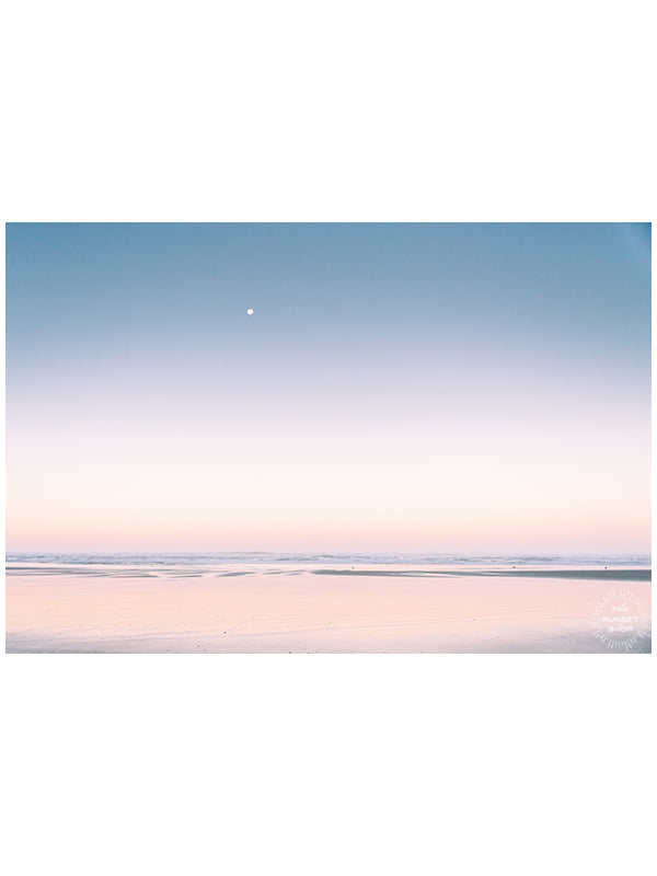 """Daydreaming"" pastel sunrise full moon photo on the Oregon Coast by Kristen M. Brown of Samba to the Sea for The Sunset Shop."