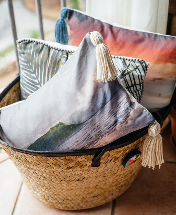 Dreaming of Waves throw tassel pillow by Samba to the Sea at The Sunset Shop. Turquoise breaking wave in Costa Rica.
