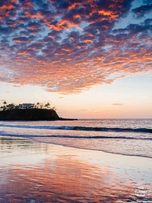 "Beautiful sunset sky over the beach in Playa Flamingo in Costa Rica. ""Flamingo"" sunset beach print photographed by Kristen M. Brown, Samba to the Sea for The Sunset Shop."