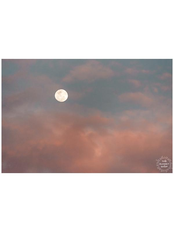 Full Moon during a pastel pink sunset in Costa Rica. Photographed by Kristen M. Brown of Samba to the Sea, The Sunset Shop.